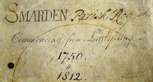 Part of the cover of the burials register for St Michael Smarden, 1750 - 1812
