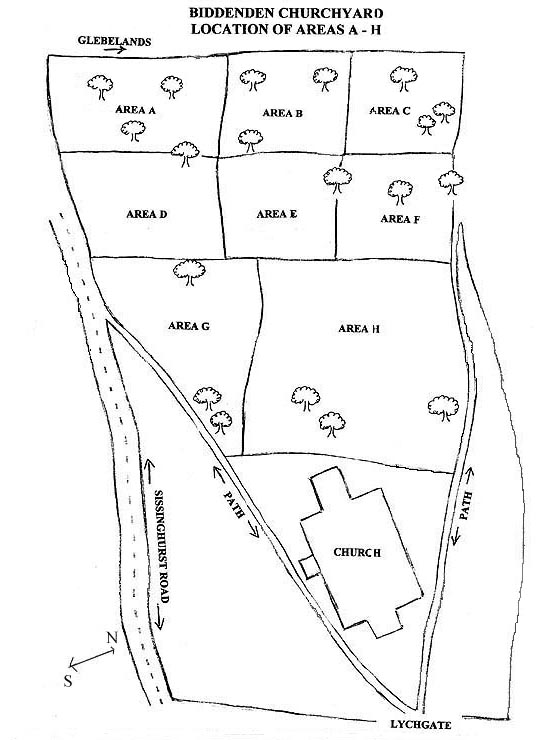 Map of Biddenden Churchyard