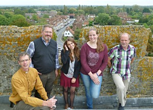 German visitors on Biddenden church tower